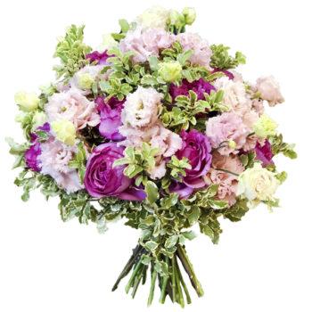 Букет из ароматной розы и эустома