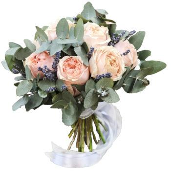Свадебный букет из пионовидной розы